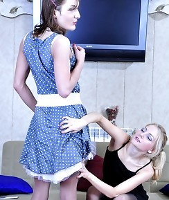 Elegantly dressed sissy guy licks a fat strap-on dick before heated bumming