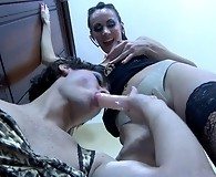 Cock-loving guy gets made up and dressed like a girl for a strapon session