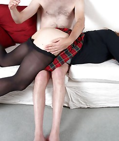 Naugty Lucimay gets a hard cock to suck on and she loves it.