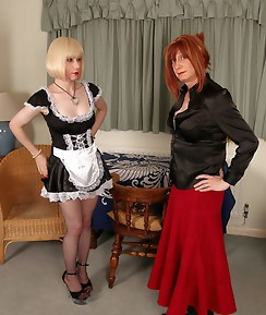 It is time this horny crossdresser maid felt Lucimays spanking hand on her ass.