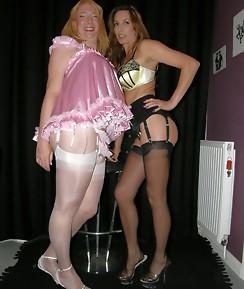 Cheeky crossdresser in pink teddy with guest Strapon Jane