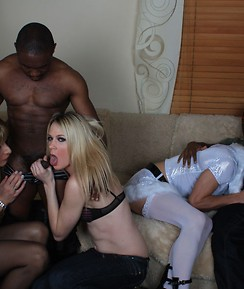 Zoe Fuck Puppet and her horny TGirl friends enjoy sucking and fucking with two big black hunks