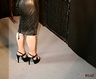Lucimay in gorgeous leather dress sucking cock