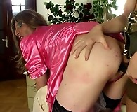 Sissy guy puts on his new uniform spreading his butt cheeks for a strap-on