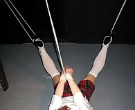 Lucimay completely helpless as she's tied and hung