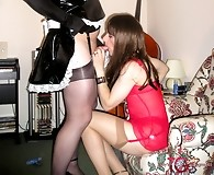 Kirsty and her slutty crossdresser friend have blowjob party