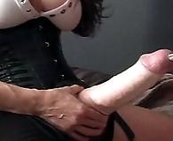 FemDom Jane punishes this tall sissies ass with a massive strapon cock