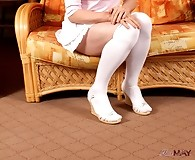 Tgirl Lucimay wearing thick white stockings and masturbating
