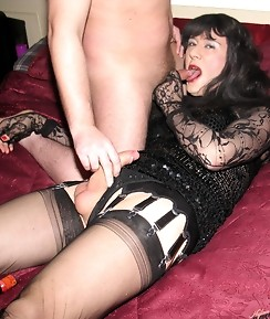 Slutty Yvette gets down on her knees and sucks some hard dick