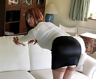 Lucimay in tight black skirt bends over showing cock